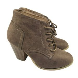 Mint Brown Lace up Booties